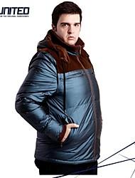 H-United® Men's Plus Size Colorblock Puffer Coat Hooded Jacket/ Big Size Men's Windproof Down Jacket