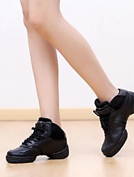 Dance Sneakers Women's Split Sole  Chunky Heel Leather Dance Shoes (More Colors)