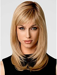 Fashionable Sweet Side Bang Gloden Medium Length Curly Synthetic Hair Wig