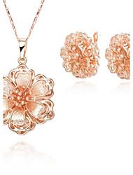 Z&X® European Style 18K Gold Plated Luxurious Flowers Pendant Necklace Earrings Jewelry Set (1 set)