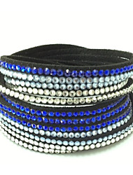 Mix Colours Handmade Velvet Bracelet Bling Rhinestone Wrap Leather Bracelet Hot Drill Bangle