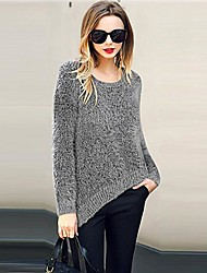 Women's Round Collar Minimalistic Sweater