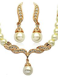 SNA Women's Korean Fashion Pearl Necklace Set