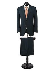 llanura verde oscuro adaptado ajuste traje en lana 100%