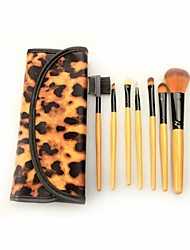 Pro High Quality 7 Pcs Nylon Hair Makeup Brush Set With Leopard Pouch CB715