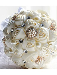 d187 mão quente strass bouquets artificiais flor de seda branco romântico Rose fez flor noiva bouquet de casamento de noiva