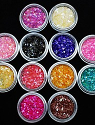12Pcs Colors Acrylic Shell Power Nail Art Decoration