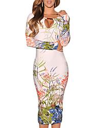 Monta Women's Fashion Long Sleeve Floral Print Bodycon Dress
