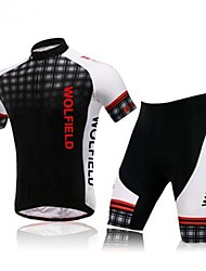 WOLFBIKE Cycling Jersey with Shorts Men's Short Sleeve Bike Breathable Front Zipper Back PocketSleeves Jersey + Shorts Clothing