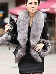 Rebecca Women's Long Sleeve Slim Fashion Round Collar Temperament Fur Leather Overcoats