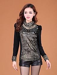 Women's Lace Black/Gold Ruff Collar Long Sleeve Lace