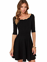 Women's Round Collar Black Fit A-Line Dresses