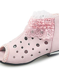 Girls' Shoes Casual Leatherette Boots Spring / Fall Peep Toe / Comfort Flat Heel Pink