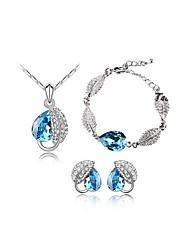 élégante noble cristal boucles d'oreilles collier de SNA femmes