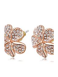 la mode grande rose de cristal des femmes en or rose champagne zircon boucle d'oreille en alliage de goujon (1 paire)