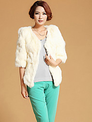 Fur Coat Half Sleeve Collarless Rabbit Fur Special Occasion/Casual Fur Coat(More Colors)