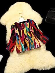 Fur Jackets Women's Colorful Rabbit Fur Jacket