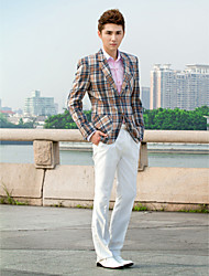 As Picture Plaid Slim Fit Tuxedo In Polyester