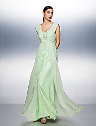 TS Couture Prom Dress - Open Back A-line Straps Floor-length Chiffon Tulle with Beading Lace Side Draping