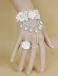 Retro White Flowers Lace Bow  Pearl Bracelet Ring Set