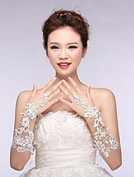 Elbow Length Fingerless Glove Bridal Gloves Appliques