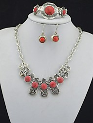 Toonykelly Vintage Look Red Turquoise Stone(Earring and Necklace and Bracelet) Jewelry Set