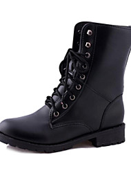 Women's Shoes Motorcycle Boots Low Heel  Mid-Calf Boots with Lace-up