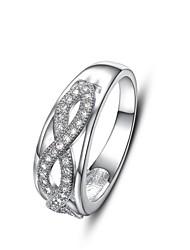 european fila dupla cruz de prata diamanted das mulheres banhado anéis de instrução (1 pc)