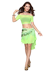 Belly Dance Dancewear Performance Sequin Chiffon Dance Belt With Tassel(More Colors)