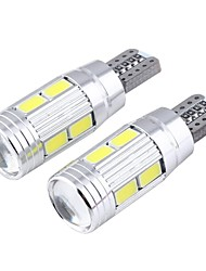T10 3W 300LM 6000K 10-SMD 5730 LED White астигматизм выпуклое зеркало ширина лампа (12V / 2 шт)