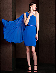 Watteau Train Chiffon / Stretch Satin Bridesmaid Dress - Royal Blue Plus Sizes / Petite Sheath/Column One Shoulder