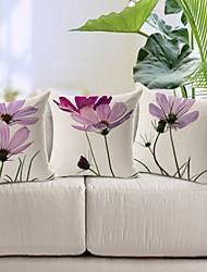 ensemble de trois lumière mauve élégant motif floral coton / lin taie d'oreiller décoratif
