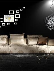 """H combinaison de style moderne de 20 """"rectangles décoration 3d bricolage miroir acrylique horloge murale"""