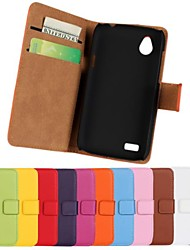 Solid Color Genuine Leather Full Body Case with Stand and Card Slot for HTC Desire X T328e (Assorted Colors)