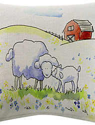 Sheep And House Pattern Cotton/Linen Decorative Pillow Cover