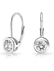 6mm boucles d'oreilles rondes cz solitaire leverback pour les femmes