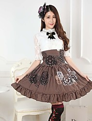 Skirt Sweet Lolita Steampunk® / Princess Cosplay Lolita Dress Coffee Print Lolita Medium Length Skirt For Women Polyester
