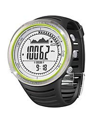 Unisex Stainless Steel Multifunction Digital Sports Watch Round Rubber Band Wrist Watch