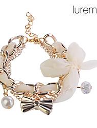 Bracelet à Breloques avec Nœud en Mousseline de Soie