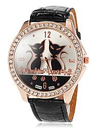 Women's Big Round Diamante Case Cat Pattern Dial PU Band Quartz Wrist Watch (Assorted Colors) Cool Watches Unique Watches Fashion Watch