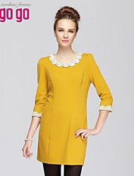 Women's Yellow Dress , Casual ¾ Sleeve