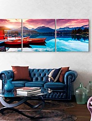 E-HOME® Stretched Canvas Art The Lake House And Boat Decoration Painting Set of 3