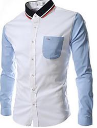 colarinho camisa casual manga longa camisas casuais dos homens de sam