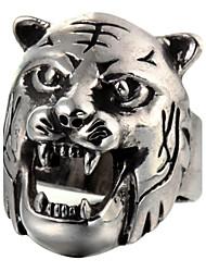 Fashion Tiger Head Silver Titanium Steel Ring