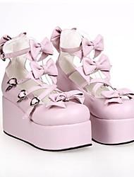 Rosa PU de 8 cm de cuero zapatos del lolita punky plataforma