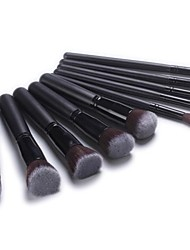 Professional Makeup Brush Set with 10Pcs Classic Black Brushes and Bag