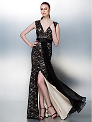 Homecoming / Prom / Formal Evening Dress - Champagne Plus Sizes / Petite Sheath/Column V-neck Floor-length Lace