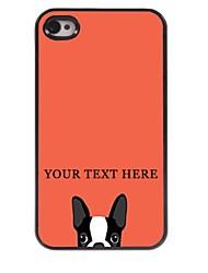 caso de telefone personalizado - cão caso design de metal para iPhone 4 / 4S