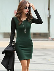 Women's Round Collar Color Matching Package Buttock Dress