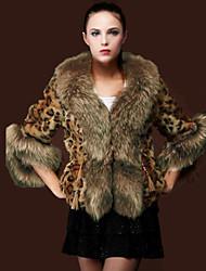 YiShang Women's Leopard Imitation Fur Collar 3/4 Sleeve Overcoat